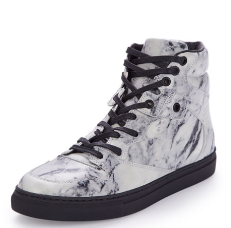 Balenciaga Marbled Leather High-Top Sneakers