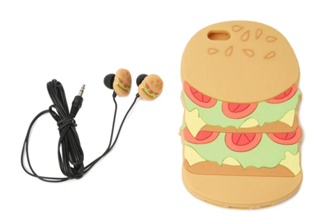 Burger Case for iPhone 6 and Earbud Set -  Food Accessory