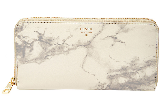 Fossil Sydney Leather Zip Clutch Purse, Marble